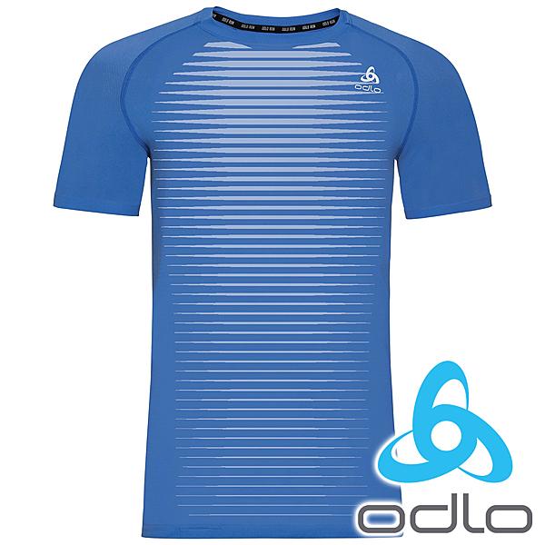 ODLO 瑞士 男 酷涼圓領短袖T恤『星雲藍』 312602 T恤 休閒 戶外 登山 露營 短袖 印花