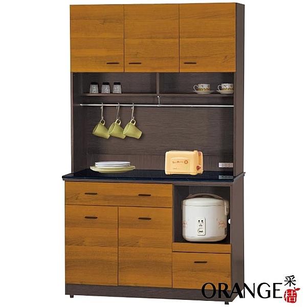【采桔家居】艾多尼 雙色3.9尺雲紋石面餐櫃/收納櫃組合(上+下座)