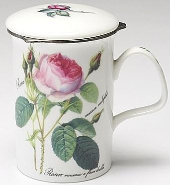 英國Roy Kirkham-浪漫淺玫瑰系列-320ml有蓋濾網馬克杯