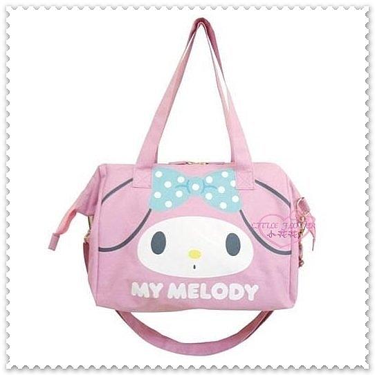 小花花日本精品♥My Melody美樂蒂 粉色 硬飾口金支架 藍點蝴蝶結 兩用包 側背包 肩背包42148609