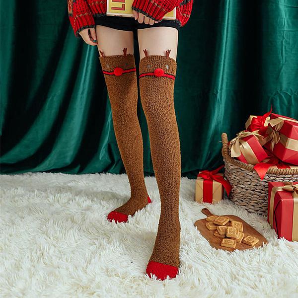 珊瑚絨聖誕襪女長筒過膝襪加厚襪子女秋冬冬天保暖月子家居睡眠襪