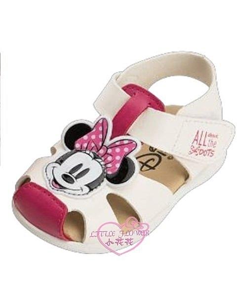♥小花花日本精品♥迪士尼白色米妮大頭造型前包式涼鞋輕便鞋外出方便暑假出遊必備白色款118141