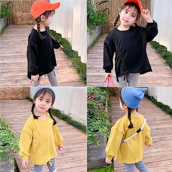 *╮小衣衫S13╭*秋冬款女童潮版個性抽繩長袖T恤1080910