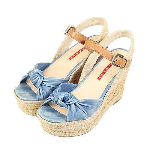 PRADA 蝴蝶楔型高跟涼鞋細皮_展示品(仿舊牛仔)