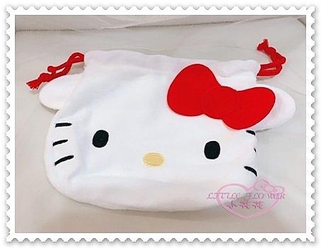 ♥小花花日本精品♥ Hello Kitty 縮口袋 束口袋 便當袋 紅色蝴蝶結 大臉造型 絨毛材質42201106