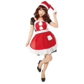 〔クリスマスコスプレ 衣装〕フリルクリスマスエプロン Ladies