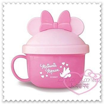 ♥小花花日本精品♥Hello Kitty 迪士尼米妮飯碗蓋碗嬰幼兒輔食碗粉色耐熱120度日本製(預購)