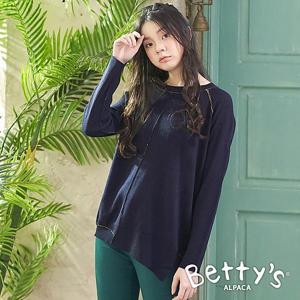 betty's貝蒂思 簡約繡線針織線衫(深藍)