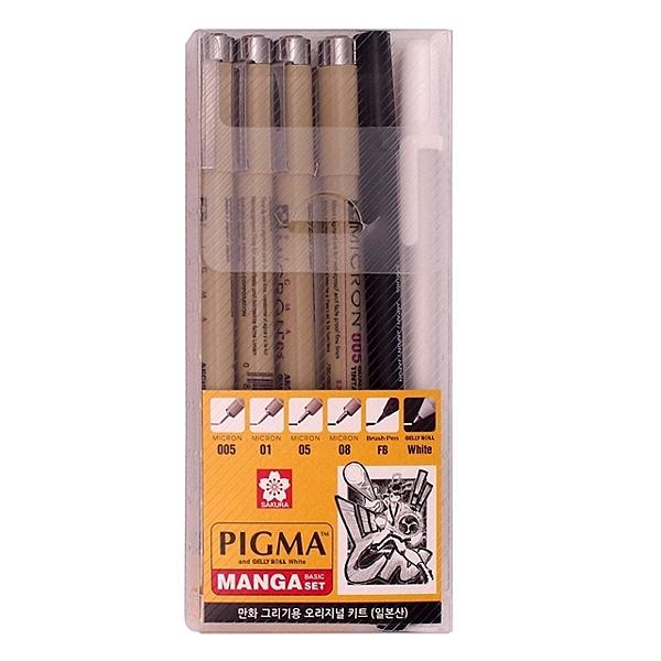 日本 SAKURA 櫻花 PIGMA MICRON 筆格邁代針筆 漫畫套組 (6支入)