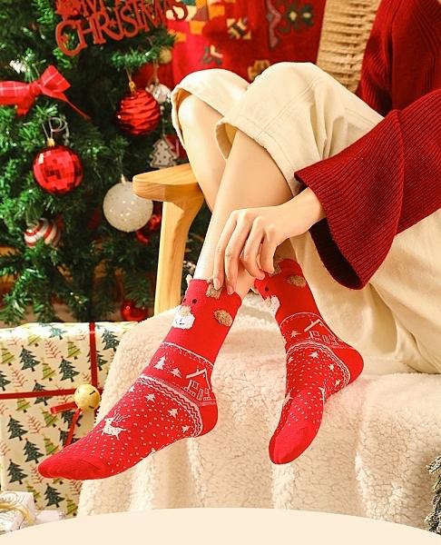 聖誕襪本命年襪子女士加厚中筒襪秋冬季保暖地板襪長筒棉襪ins潮