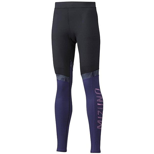 MIZUNO 女裝 長褲 慢跑 路跑 緊身 內搭 輕量 彈性 拼接 黑 紫【運動世界】J2MB970193