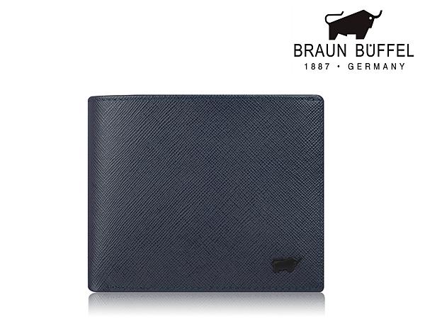 【寧寧精品】BRAUN BUFFEL 小金牛 台中專賣店 洛菲諾系列 真皮超薄藍色短夾  現貨 BF347-314-1