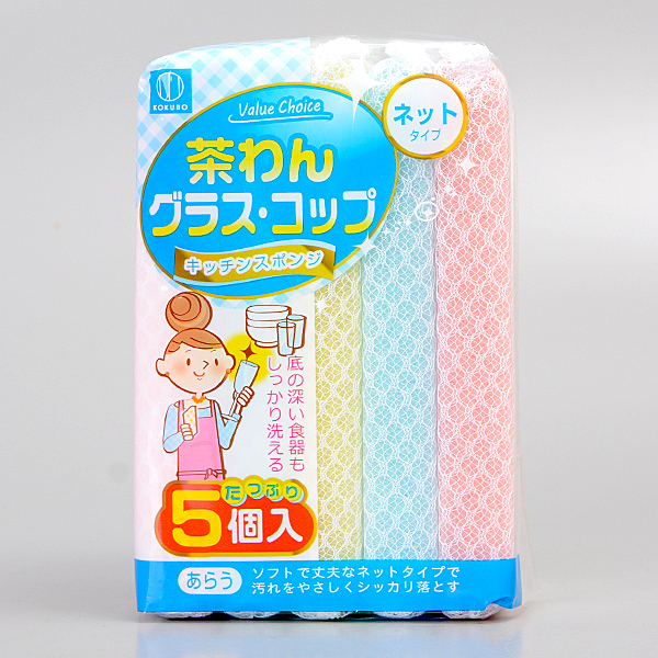【Kokubo】茶杯.玻璃用泡泡海綿菜瓜布5入/3668