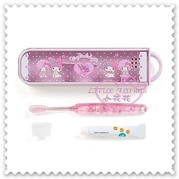 ♥小花花日本精品♥《Melody》美樂蒂 牙刷牙膏組 附收納盒 坐姿 愛心 玫瑰花 點點 57029702