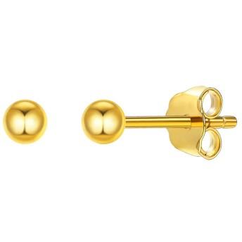 ChicSilver 3mm 丸玉 ピアス ボール 金属アレルギー ゴールド スタッドピアス レディース k18金 シンプル アクセサリー