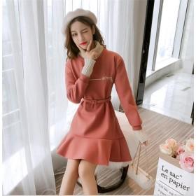 [55555SHOP] 【限定特価】2018新品 小さい新鮮な ニット 縫付 ハイネック フェイク2個セット レジャー 細ベルトつき フィッシュテールスカート