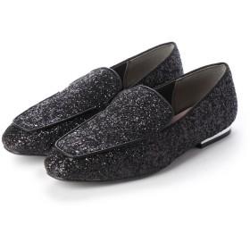 マシュガール masyugirl 【4E/幅広ゆったり・大きいサイズの靴 スクエアトゥスリッポンローファー】 (ブラックグリッター)