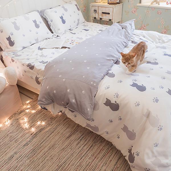 天絲床組 紫貓月 S4單人薄床包與兩用被三件組(40支) 100%天絲 棉床本舖