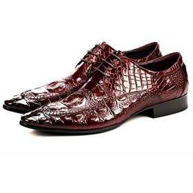 新しいクロコダイル柄の尖った靴メンズ英国のベルトレザービジネスユーストレンドレザー制服ドレスレトロな結婚式の靴通気性黒赤5-9.5UK,赤,41