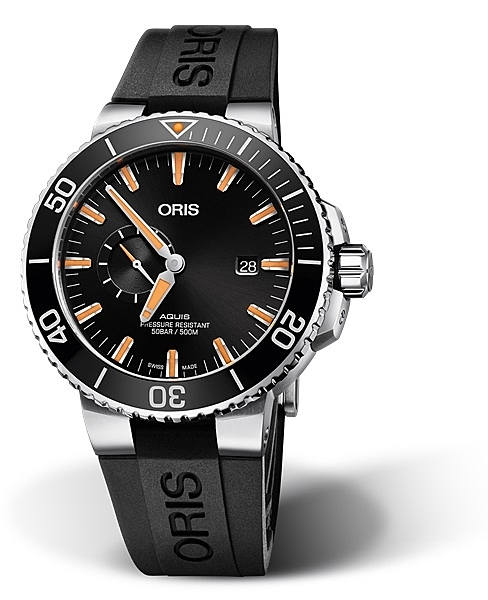 ORIS Aquis 時間之海500米小秒針潛水機械錶(0174377334159-0742464EB)黑膠黑面/45.5mm