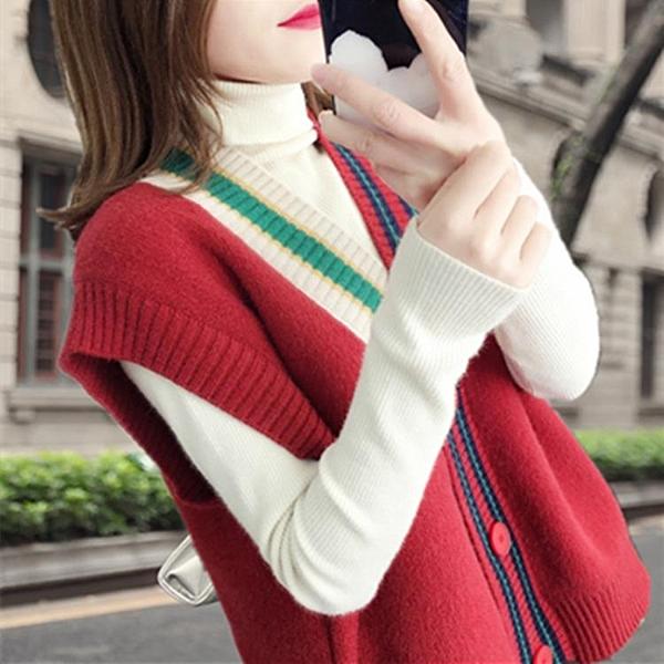 針織背心外套 慵懶風針織開衫背心女新款春裝寬鬆無袖毛衣馬甲短款上衣韓版
