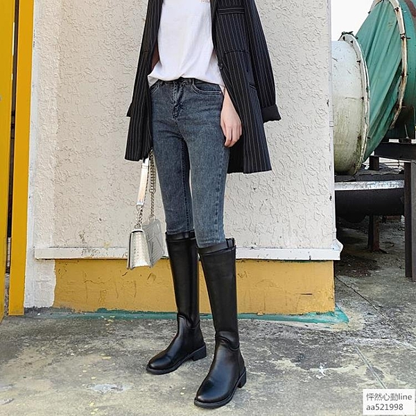 靴子女2019秋款新款長筒靴小個子長靴女不過膝騎士靴女中筒高筒靴歐韓時代