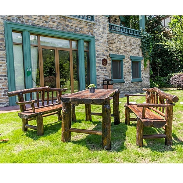 戶外桌椅 復古防腐木戶外實木桌椅庭院陽臺碳化木餐桌椅組合喝茶休閒椅套裝【萬聖夜來臨】