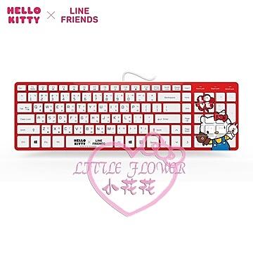 ♥小花花日本精品♥Hello Kitty x LINEFRIENDS 紅色可愛輕薄鍵盤有線鍵盤21109904