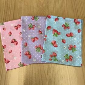 w55×35cm ランチョンマット 3枚セット 水色 ピンク パープル ドット水玉イチゴ 花柄