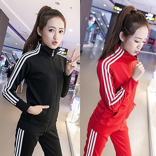大尺碼春秋顯瘦學生運動服休閒女修身加肥加大碼長袖兩件套運動套裝 M-XXXXXL