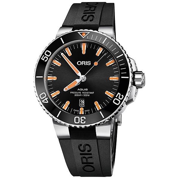 ORIS Aquis 時間之海300米潛水機械錶(0173377304159-0742464EB)黑膠/43.5mm