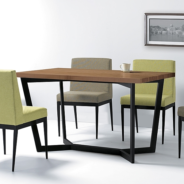 歐丁4.3尺胡桃色黑腳餐桌(18JF/453-2)【DD House】