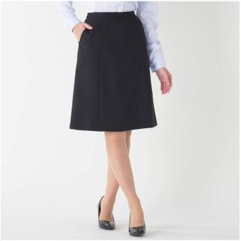 [nissen(ニッセン)] 事務服 ベスト スーツ 洗える防汚加工セミフレア スカート 消臭テープ付 上下別売り W=黒 70