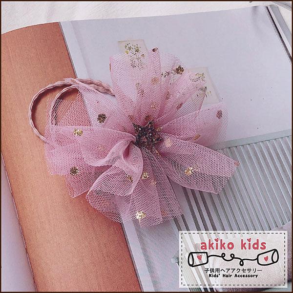 【akiko kids】日本公主網沙多層立體大花造型兒童髮圈