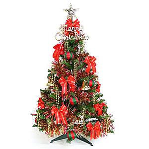摩達客 3尺90cm一般型裝飾綠聖誕樹 (+飾品組-紅金色系/不含燈)