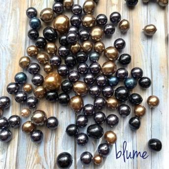 数量限定【ビーズ】 pearl beads mix #beige×dark