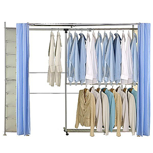 巴塞隆納─AH-22伸縮衣櫥 前布簾水藍色不織布