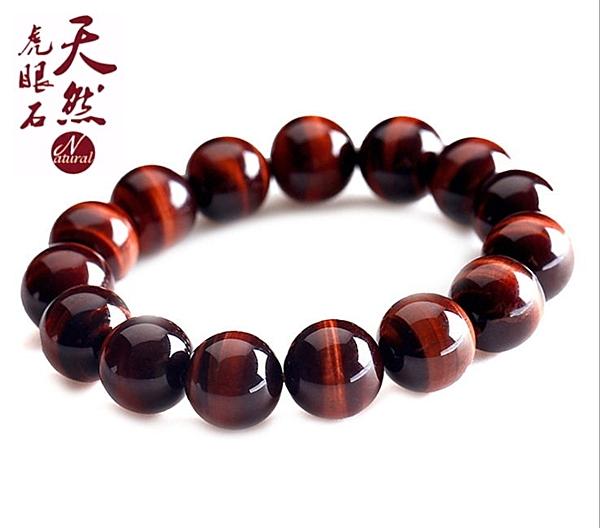精選優質天然紅虎眼石 虎睛石 精品 手鍊 佛珠 手珠 手飾 禮物 贈禮(14mm)
