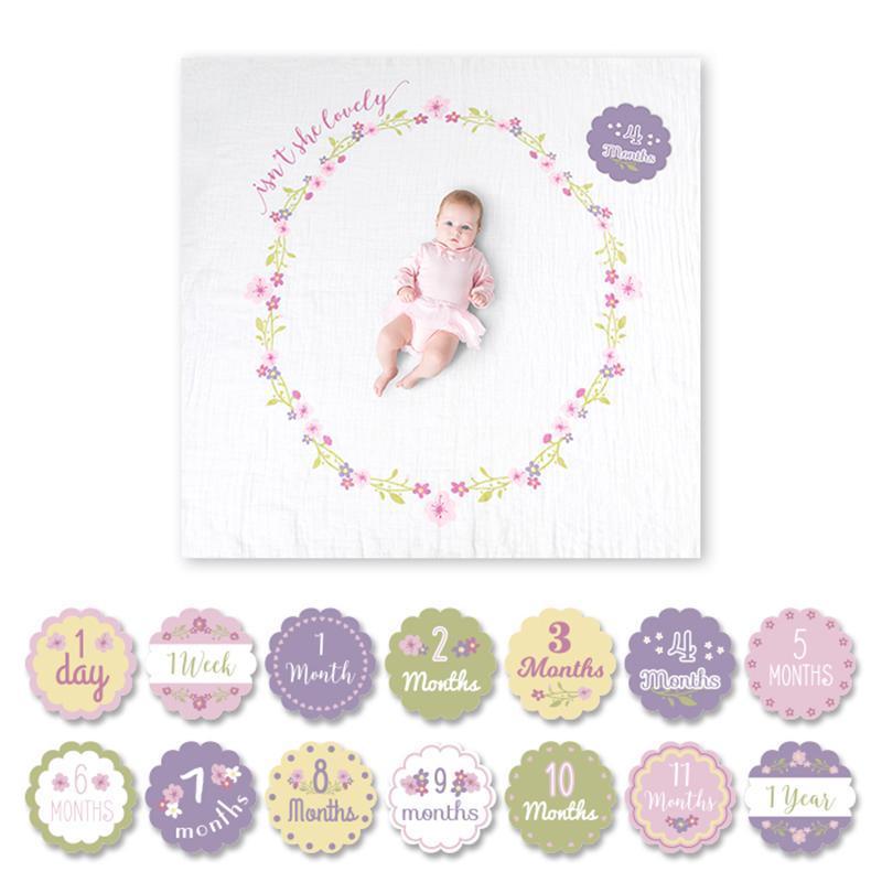 寶寶成長包巾卡片組 - 小花圈 小花圈