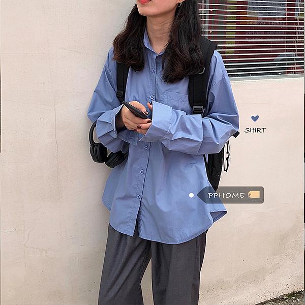 韓風冷淡風少女 經典百搭慵懶男友風淨版寬鬆長袖襯衫