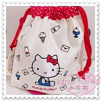 ♥小花花日本精品♥Hello Kitty 束口袋小束口袋收納袋坐姿信封點心冰淇淋牛奶點點蝴蝶結 90039102