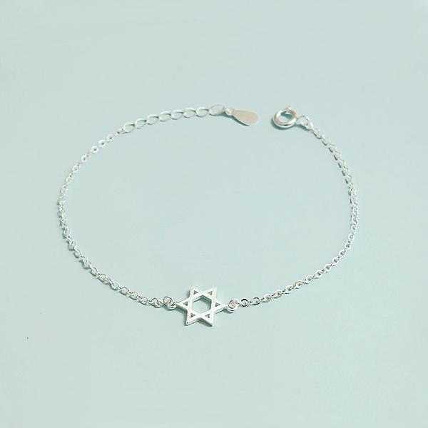 925純銀 六芒星 裸銀素銀極細手鍊-銀 防抗過敏 不退色