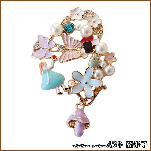 『坂井.亞希子』愛麗絲仙境系列-蝴蝶花朵彩鑽珍珠蘑菇胸針 -單一色系