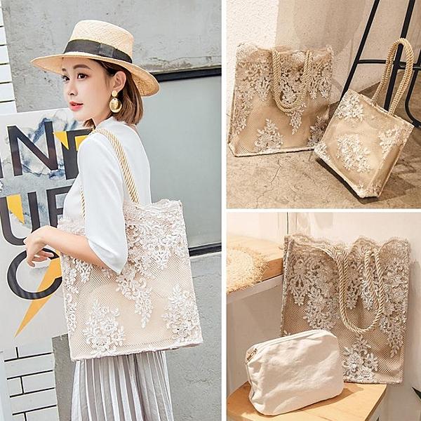 降價兩天 仙女包包女2020新款韓國蕾絲手提購物袋復古夏天刺繡托特包單肩包