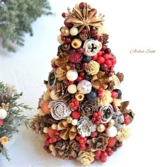どっさり木の実のクリスマスツリー・ベリーやパールで可愛らしく飾り付ける小さなツリー*玄関やリビングに置きたい豪華なクリスマスツリー