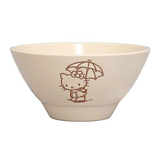 〔小禮堂〕Hello Kitty 日製陶瓷碗《米.撐傘》飯碗.YAMAKA陶瓷 4979855-20710