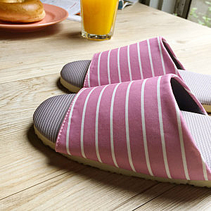 【iSlippers】療癒系舒活布質室內拖鞋(多款任選)玫瑰紫條紋(M)