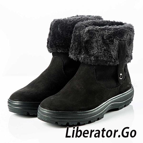 【Liberator】女高筒防潑水可翻拉鍊鈕扣雪鞋『黑』L5021 (冰爪 / 內厚鋪毛) 雪地靴.保暖.抗寒