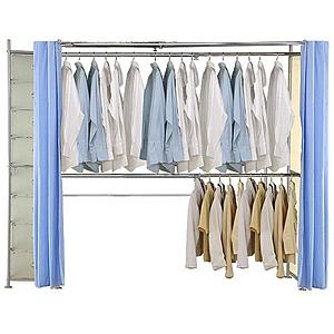 巴塞隆納─AH-06伸縮衣櫥 前布簾水藍色不織布