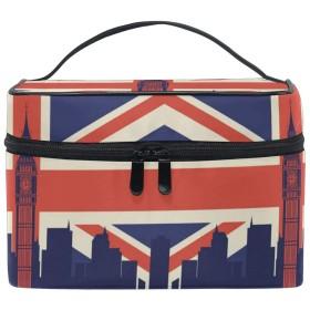 英国国旗ベルタワー化粧品袋オーガナイザージッパー化粧バッグポーチトイレタリーケースガールレディース